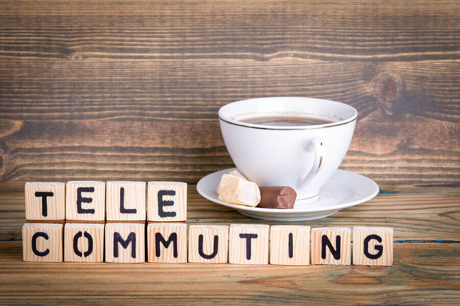 Telecommuting sign for the problem with telecommuting